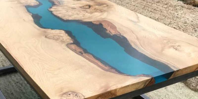 Mesa de madera con resina epoxi barata baratas precio comrar precios